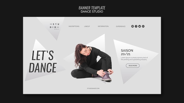 Woman dancing studio dance banner template