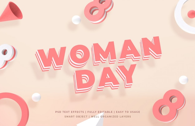 Woman day 3d text style
