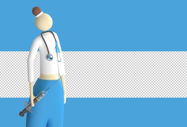 Женщина-врач носит стетоскоп со шприцем для вакцины. прозрачный файл psd.