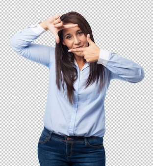 Woman doing a frame gesture