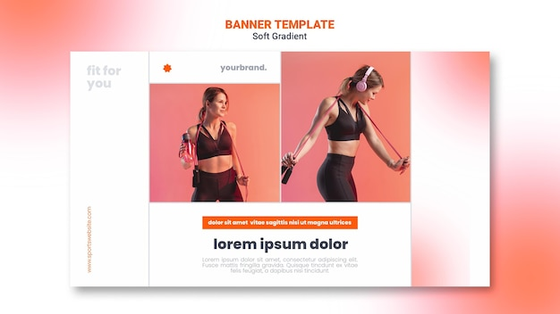 Woman doing sport and listening to music banner