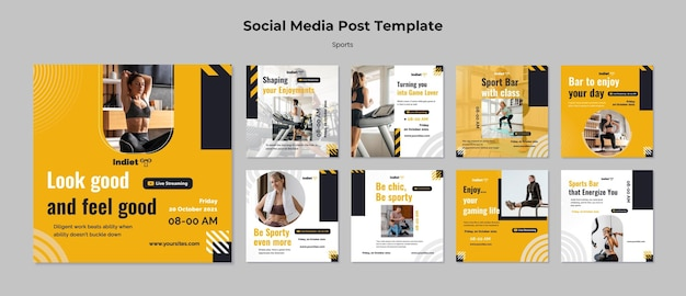 Woman doing sport social media post template