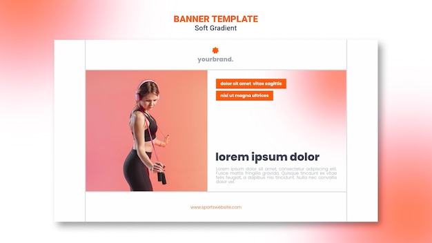 Woman doing workout banner template