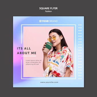 Woman drinking coffee fashion square flyer template