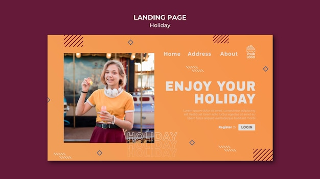 Woman enjoying her holiday landing page