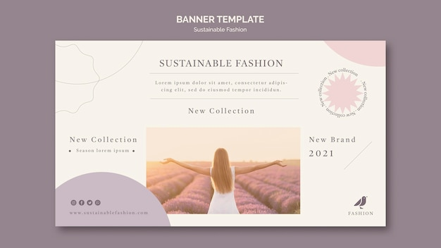 Woman in the field sustainable fashion banner template