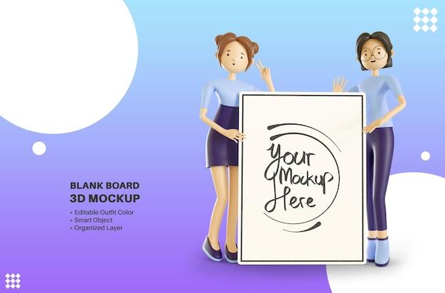 空のホワイトボード3d漫画レンダリングモックアップを保持している女性の女の子のキャラクター