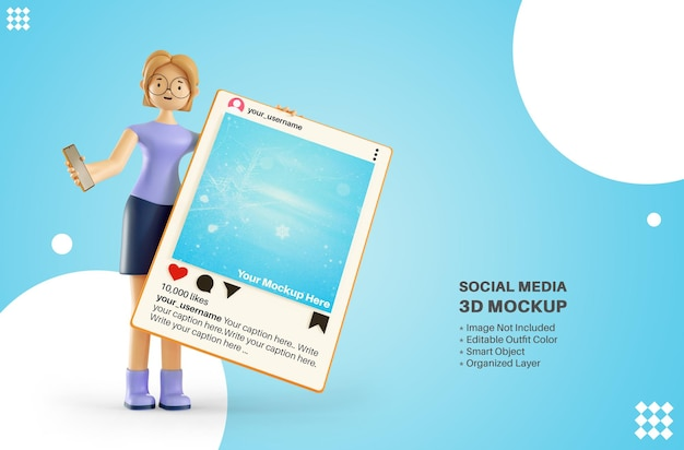 Женщина-девушка персонаж держит instagram приложения пост в социальных сетях 3d-рендеринг макета