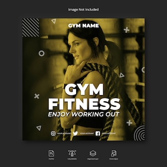 Woman gym workout social media instagram post or square flyer template