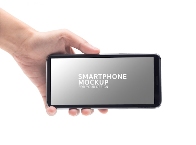 Woman hand holding the black smartphone mockup for your design.