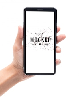 Woman hand holding and touching black smartphone with blank screen mockup template.