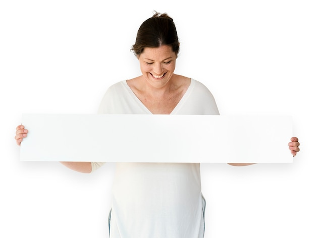 Woman hands hold show blank box banner