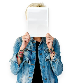 Woman hands hold show blank tablet