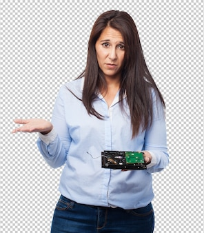 Woman having a problem with hard drive