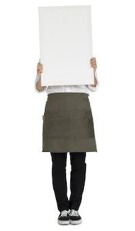 Woman Holding Banner Copy Space Portrait Concept