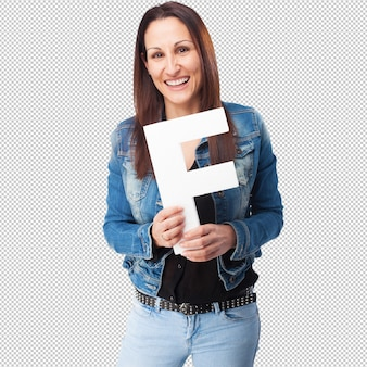 Woman holding the f letter