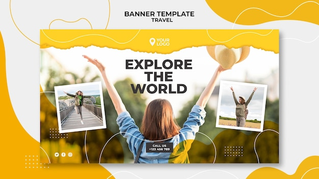 Woman holding hands in the air banner template