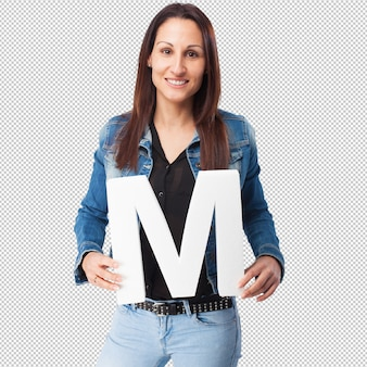 Woman holding the m letter