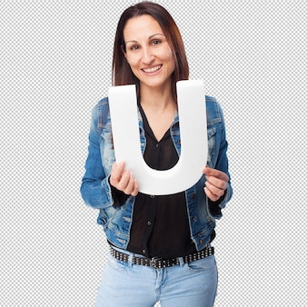 Woman holding the u letter
