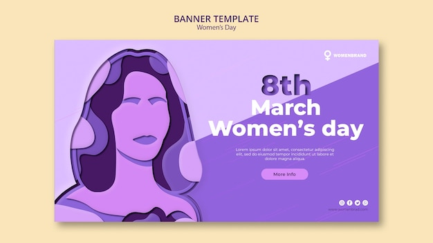 Женщина в фиолетовых тонах женский день баннер шаблон