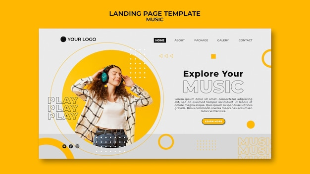 Woman listening to music landing page template