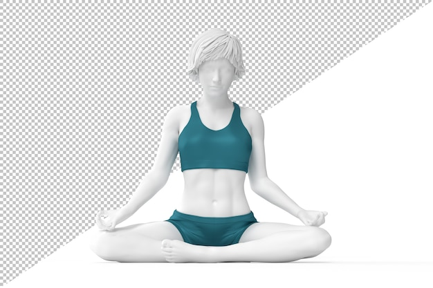 Woman in lotus pose meditating with closed eyes