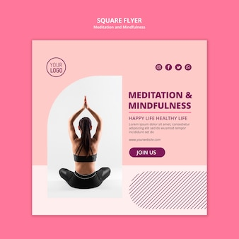 Woman in lotus position square flyer template