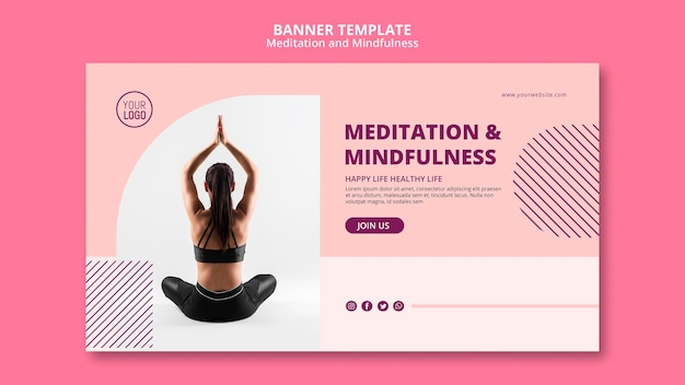 Woman in lotus yoga position banner template