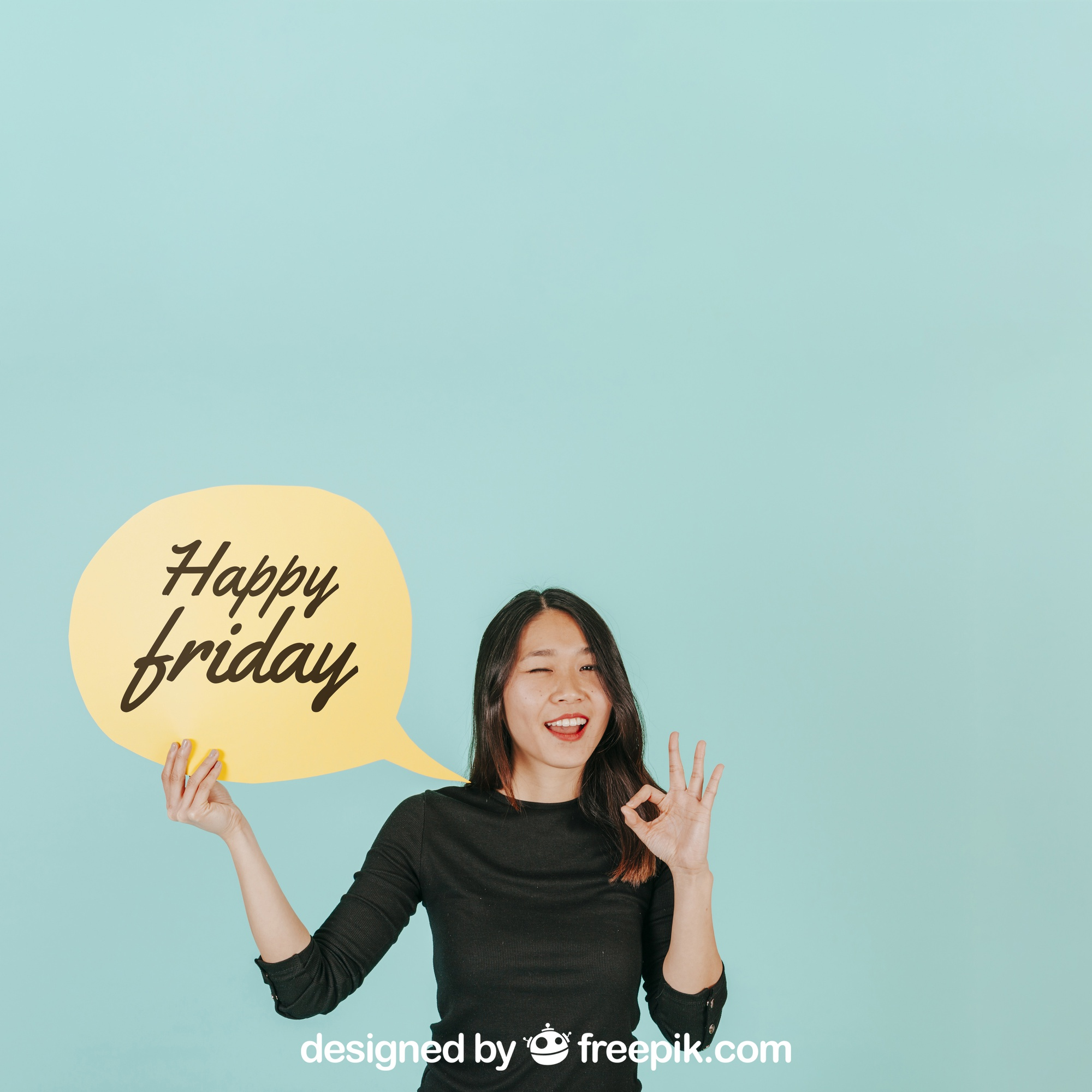 Woman making ok sign with speech bubble mockup