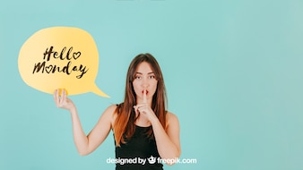 Woman making quiet sign with speech bubble mockup