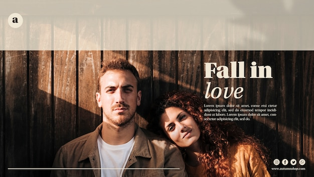 Woman and man on autumn web template