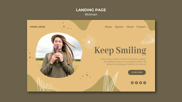 Woman outdoors landing page style