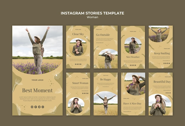 Woman outside instagram stories template