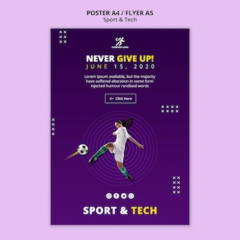 Woman playing football poster template