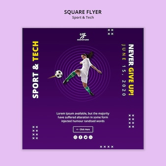 Woman playing football square flyer template