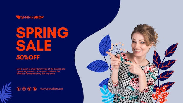 Woman pointing spring sale banner