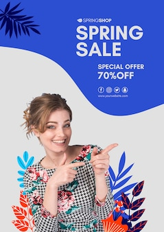 Woman pointing spring sale poster