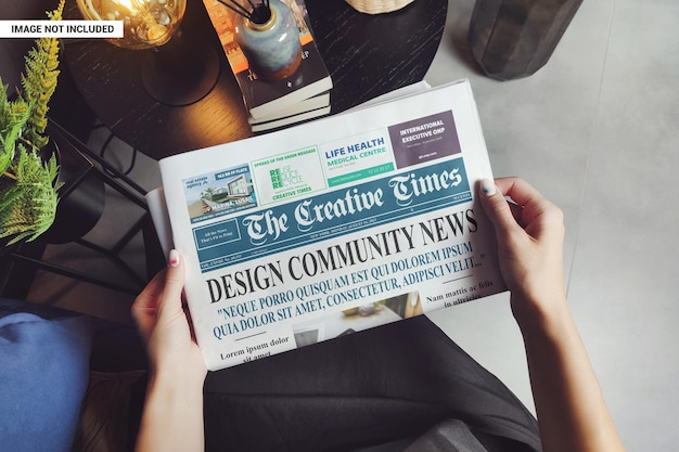 Woman reading business newspaper mockup