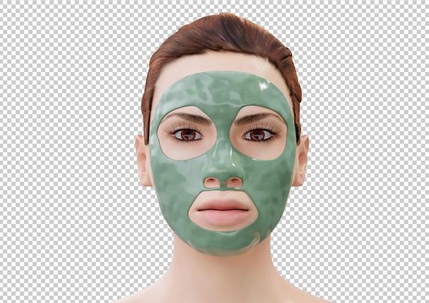 Женщина расслабляющий с грязевой маской для лица, изолированные на белом фоне. 3d рендеринг