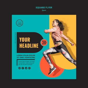Woman running square flyer template