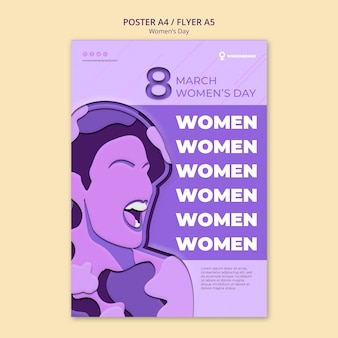 Woman screams women's day poster template