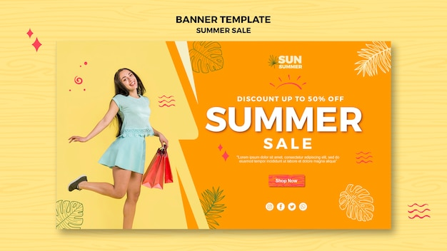 Woman shopping summer sale banner