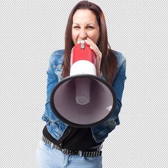 Woman shouting with a megaphone