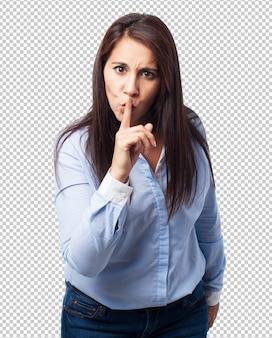 Woman silence gesture