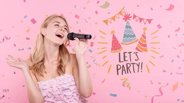 Woman singing at birthday party