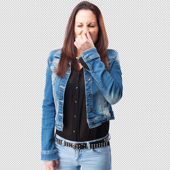 Woman smelling something