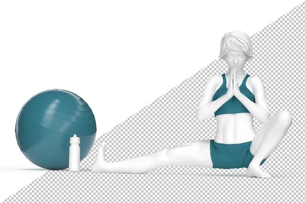 Женщина растягивается на мин во время занятия йогой