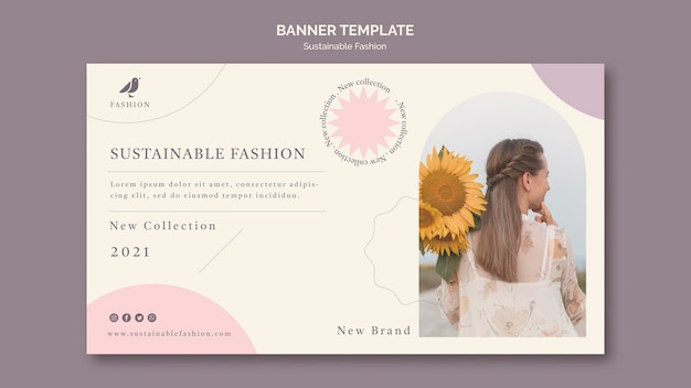 Woman sustainable fashion banner template