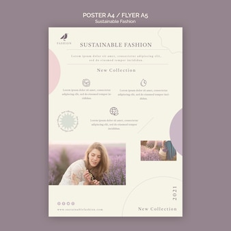 Woman sustainable fashion flyer print template