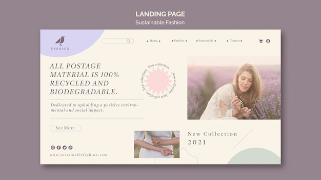 Woman sustainable fashion landing page template